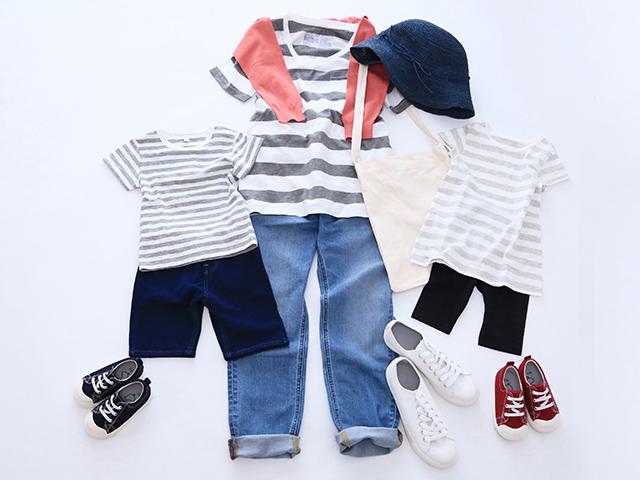 無印良品のボーダーTシャツ・カットソーは、種類が豊富なのもうれしいポイント。 親子でリンクコーデを楽しむなら、あえて異なるピッチのボーダーを選んでみて。